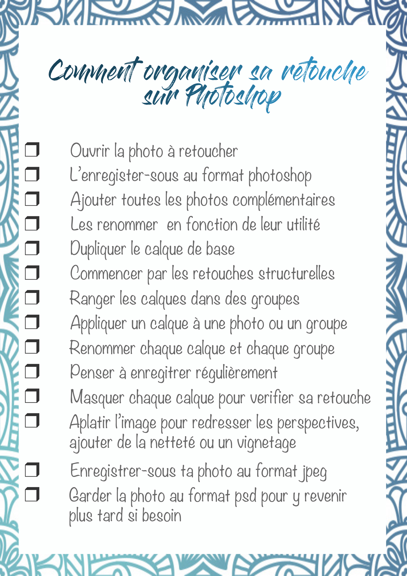 comment organiser sa retouche sur photoshop